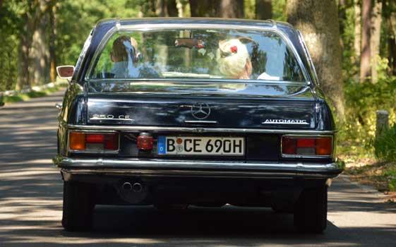 Fahrt mit dem Hochzeitsauto